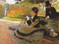 Клод Моне. Камилла Моне на садовой скамейке