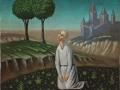 «Пейзаж с коленопреклоненной фигурой», х.м.