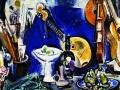 Евсей Моисеенко. Натюрморт с белой вазой и музыкальны- ми инструментами. 1977. Х., м.