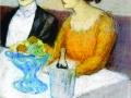 Пабло Пикассо. Анхель Фернандес де Сото с подругой. 1903. Бум., пастель
