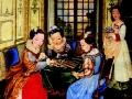 «Знатные дамы за игрой в шахматы», шелк наклеенный на бумагу