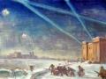 Борис Суханов. Наши бойцы выдвигаются к Волге. Не позднее 1945. Бумага, гуашь. 59,3 х 84,5 см. Тверская областная картинная галерея