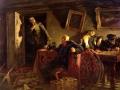 Кукрыниксы. Конец. Последние часы в ставке Гитлера. 1947-1948. Холст, масло. 200 х 251. Государственная Третьяковская галерея.