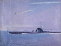 "Georgiy Nisskiy. Submarine. 1940-s. Oil on canvas. 37,5 x 49 cm. The State Museum Association ""Artistic Culture of Russian North"" (Arkhangelsk)."