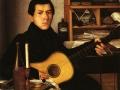 Неизвестный художник. Портрет молодого человека с гитарой. 1830. Х., м.