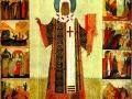 Святой митрополит Пётр с житием. Икона. 1480-е
