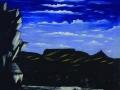 Арсенальная гора ночью. Клеёнка, масло