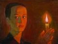 Геннадий Мызников. Девушка со свечой. 1994. Х., м.