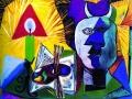 Пабло Пикассо. Натюрморт со свечой, палитрой и головой Минотавра. Х., м