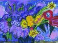 Татьяна Маврина. Цветы. Сирень и небо. 1990. Бум., акв., гуашь