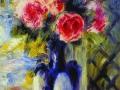 Пьер Ренуар. Букет из роз в голубой вазе. 1876. Х., м.