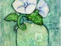 Су Янг Чоо. Розовые полевые цветы в банке. Акрил