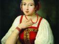 Неизвестный художник. Портрет неизвестной в русском костюме. 1831. Х., м.