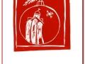 """Тарасова Анна, мама Виктории, г. Москва. Линогравюра/Открытка """"Новый год в Великом Новгороде!"""""""