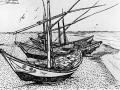 «Лодки на берегу», 1888 г., тушь.