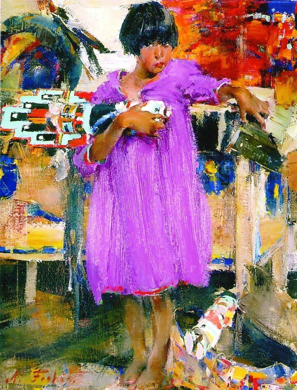 Николай Фешин. Девочка в фиолетовом платье. 1927-1933. Холст, масло. 66 х 56. The Fred Jones Jr. Museum of Art, USA