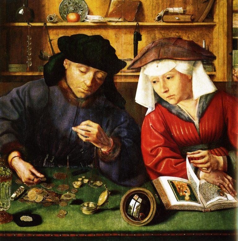 Квентин Массейс. Меняла с женой. 1510-1515. Дерево, масло. 71 х 68 см. Лувр