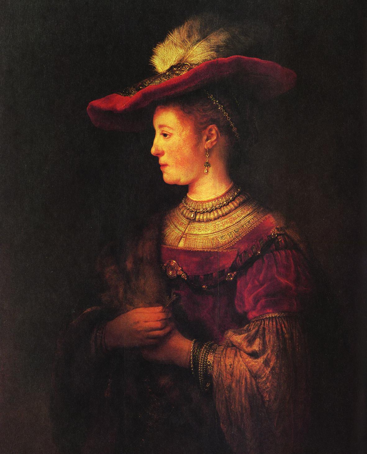 Рембрандт ван Рейн. Саския. 1634. Масло на дереве.  Кассельская художественная галерея. Германия