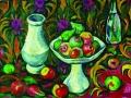 Илья Машков. Натюрморт с бутылкой, кувшином и фруктами. 1910. Х., м.