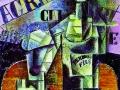 Пабло Пикассо. Бутылка с перно. (Столик в кафе). 1912. Х., м.