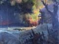 Афанасий Куликов. Налёт партизан на штаб немецкой части. Эскиз. 1942. Холст, масло. 76 х 96 см. Калужский музей изобразительных искусств