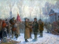 Lev Aronov. Universal education fighters before depature to the military quarter. 1942. Oil on canvas. 118 x 210 cm. Omsk oblast Fine Arts Museum named in the honor of M.A. Vrubel.