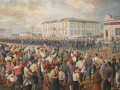 Panteleymon Popov. Farewell ceremony of mobilized citizens in 1941. 1943. Oil on canvas. 90 x 161 cm. National Fine Arts Museum of Sakha Republic (Yakutia)