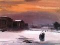 Георгий Траугот. Зарево. 1942. Холст, масло. 44,5 х 67,5 см. Государственный Русский музей