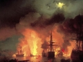 Ivan Aivazovsky. Battle of Chesme. 1848. Oil on canvas. 195 x 185 cm. Feodosiya Picture Gallery named in the honor of I.K. Aivazovsky.