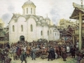 Appolinary Vasnetsov. Moscow defense from Tokhtamysh Khan. XIV century. 1918. Paper, watercolors, charcoal. 64 x 92 cm. State historical architectural art museum sanctuary in Kostroma.