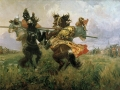 Michail Avilov. Fight of Peresvet with Chelubey. (Kulikovo Field Battle). 1943. Oil on canvas. 327 x 557 cm. The State Russian Museum