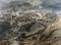 Frants Rubo. Attack of village Akhulgo. 1888. Oil on canvas. 338 x 428 cm. Dagestan fine arts museum named in the honor of P.S. Gamzatova