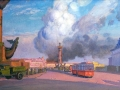 Nikolay Protopopov. Fire. 1942. Oil on canvas. 50,5 x 100 cm. The State Russian Museum