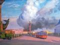 Николай Протопопов. Пожар. 1942. Холст, масло. 50,5 х 100 см. Государственный Русский музей