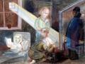 Татьяна Глебова. В блокаду. 1942.  Бумага, акварель. 33 х 43,3 см. Государственный Русский музей