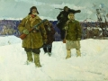 Petr Mayorov. Routine days of partisans. 1967. Oil on canvas. 118x184 cm. Voronezh oblast Art Museum named in the honor of I.N. Kramskoy.