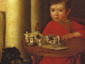 Неизвестный художник. «Мальчик с игрушками» (фрагмент). 19 век. Х.м.