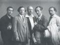 Члены АХРРа (слева направо) Евгений Кацман, Исаак Бродский, Юрий Репин, Александр Гри_горьев и Павел Радимов. 1926 год