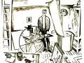 Илларион Голицын. У офортного станка в мастерской. Автопортрет. 1962. Линогравюра