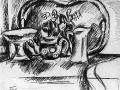 «Натюрморт с подносом».1919. Бум. кремовая, итал. кар.