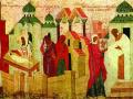 Святой митрополит Алексий с житием. Фрагмент иконы. 1480-е
