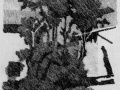 Деревья перед домом. 1933. Гравюра