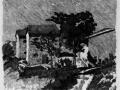 Три дома в Гриццоно. 1919. Гравюра