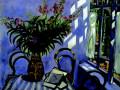 «Интерьер с цветами»,1917, бум. на картоне, масло.