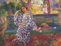 Анри Лебаск. Молодая женщина сидящая на скамейке.