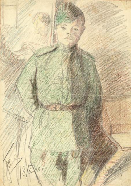 Александр Шмидт. Воспитанник полка. 1943. Бумага, цветной карандаш. Мурманский областной художественный музей