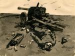 Александр Кирчанов. Разбитое орудие. 1944. Бумага, тушь. 14 Х 17. Кемеровский областной музей изобразительных искусств