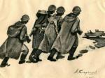 Александр Кирчанов. Солдаты идут. 1945. Бумага желтая, тушь. 21 х 34. Кемеровский областной музей изобразительных искусств