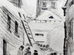 Ефим Хигер. У колонки. Блокадные зарисовки. 1942. Бумага, тушь, перо. 19 х 12,8. Государственный Русский музей
