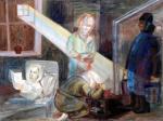 Татьяна Глебова. В блокаду. 1942. бумага, акварель. 33 Х 43,3. Государственный Русский музей